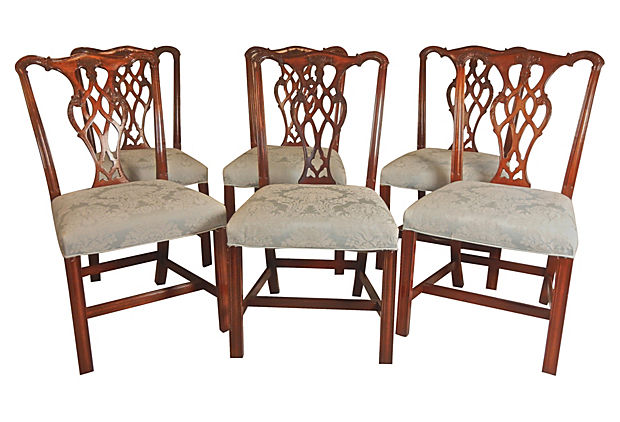 Set Of 6 Beautiful Chippendale Dining Side Chairs Vintage American