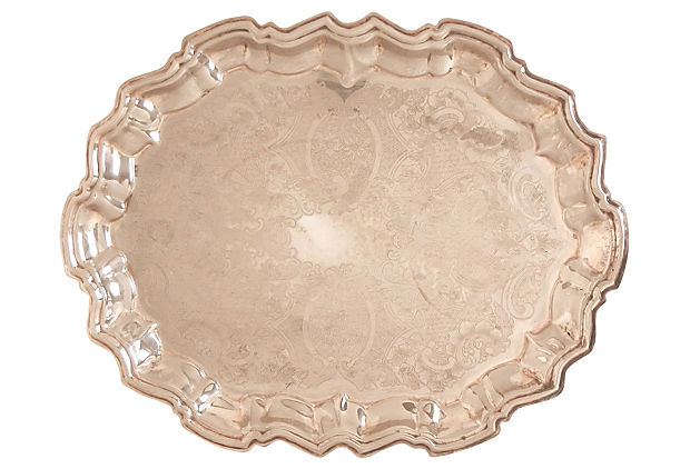 Scalloped edge footed silver tray
