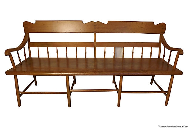 Antique Bench With Plank Seat Spindle Back Vintage American Home