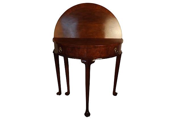 baker furniture company vintage card table burled walnut vintage