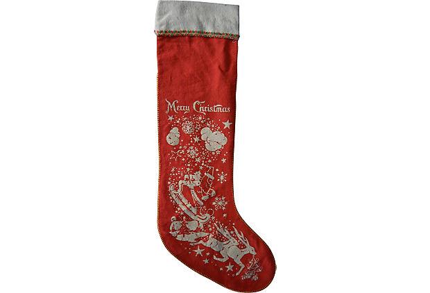 Vintage Christmas Stockings.Vintage Christmas Stocking Felt 1960 S