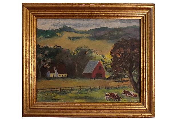 Original Oil Painting Of Farm Vintage American Home
