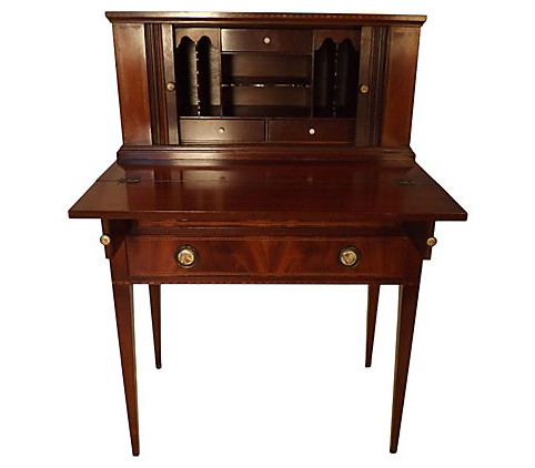 Antique Ladies Desk with Tambour doors, inlay and hand painted procelain  knobs - Vintage American Home - Antique Ladies Desk With Tambour Doors, Inlay And Hand Painted