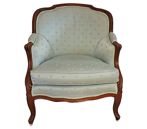 Sale! ;  - Elegant Antique French Bergere Chair In Pale Blue Poplin - Vintage