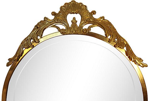 Antique Chevalier Standing Mirror On Ornate Brass Base