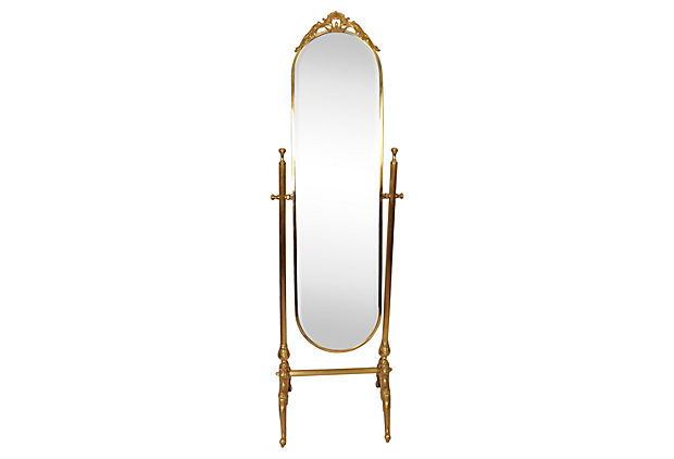 Chevalier standing mirror on ornate brass base vintage american home
