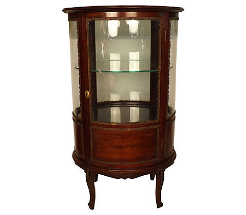 Sale! ;  - Antique French Vitrine Curved Glass Display Cabinet - Vintage