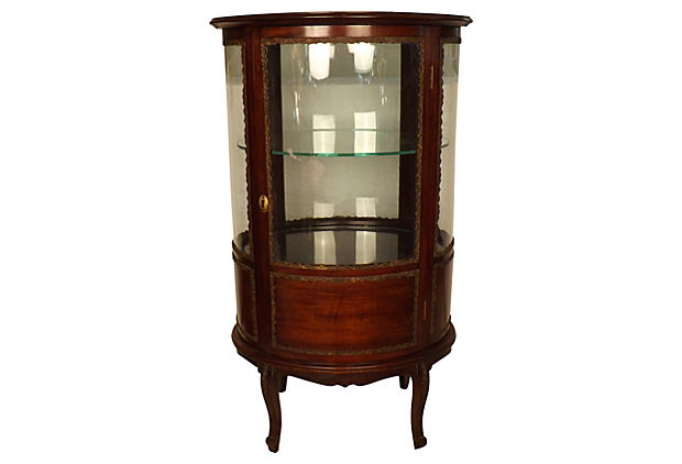 Sale! ;  - Antique French Vitrine Curved Glass Display Cabinet - Vintage