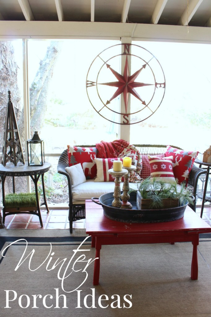 Winter Porch Ideas with large compass rose