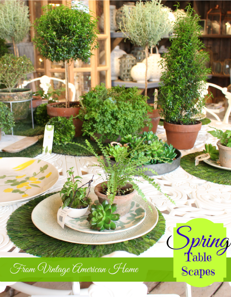 Spring Table Settings from Vintage American Home Blog. Lots of decorating ideas.