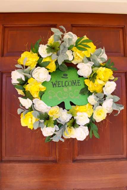 Wood front door has wreath for spring - Vintage American Home decoration ideas