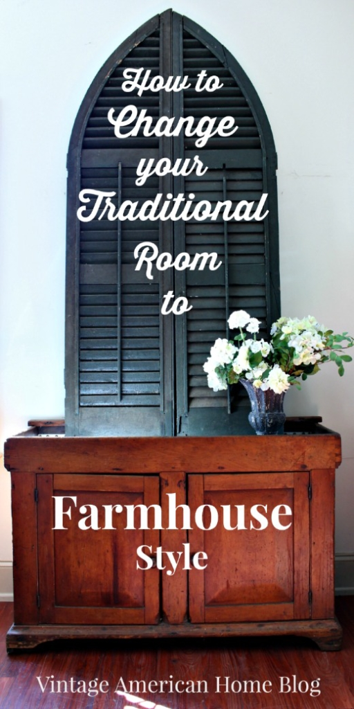 Do you love the new Rustic Farmhouse look on TV? Do you want to renovate your own Fixer? Are your rooms mainly traditional? Here is how I changed my traditional look room to a new style Farmhouse look without starting from scratch! Get the fixer upper look.