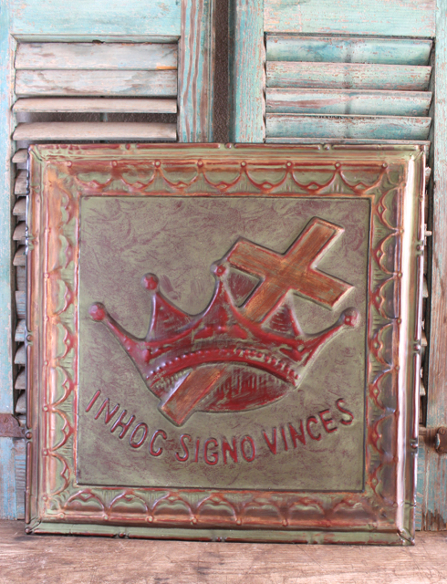 constantine's vision - In his sign you will conquer metal wall plaque. At Vintage American Home.com