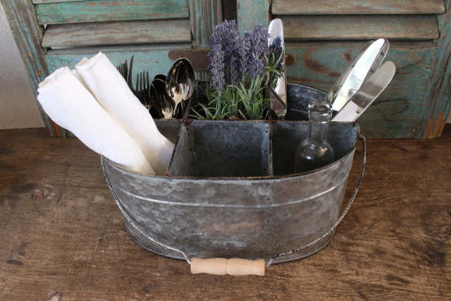 Zinc caddy from Vintage American Home.