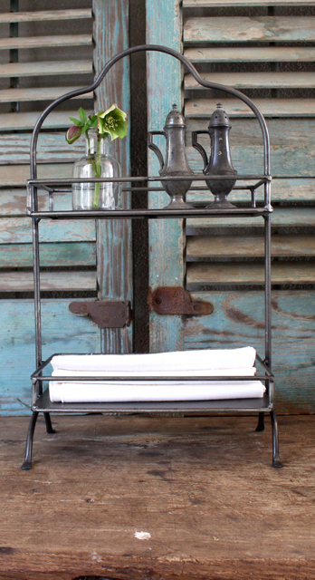 Metal serving unit for the farmhouse look. Vintage American Home.com
