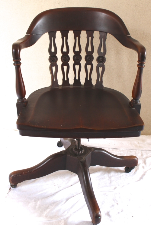 Rotating and adjustable original mahogany desk chair from Vintage French caned chair Vintage American Home.com