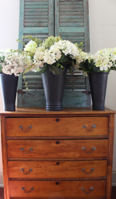 Pair of two French Flower buckets with hydrangeas. From Vintage American Home