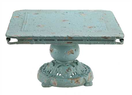 Blue square metal pedestal from Vintage American Home.com