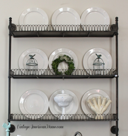 Industrial metal wall shelf with vintage ironstone for the Farmhouse look. $198. 10 Ways to get the Farmhouse Look!