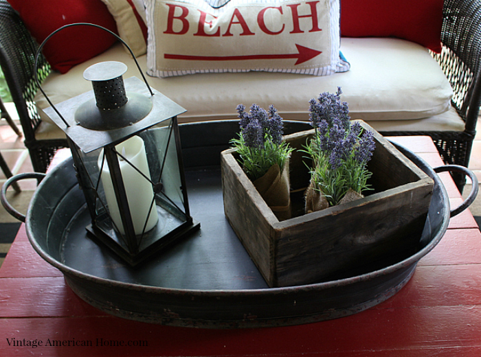 Large tray on porch is perfect for coffee table from Vintage American Home.com
