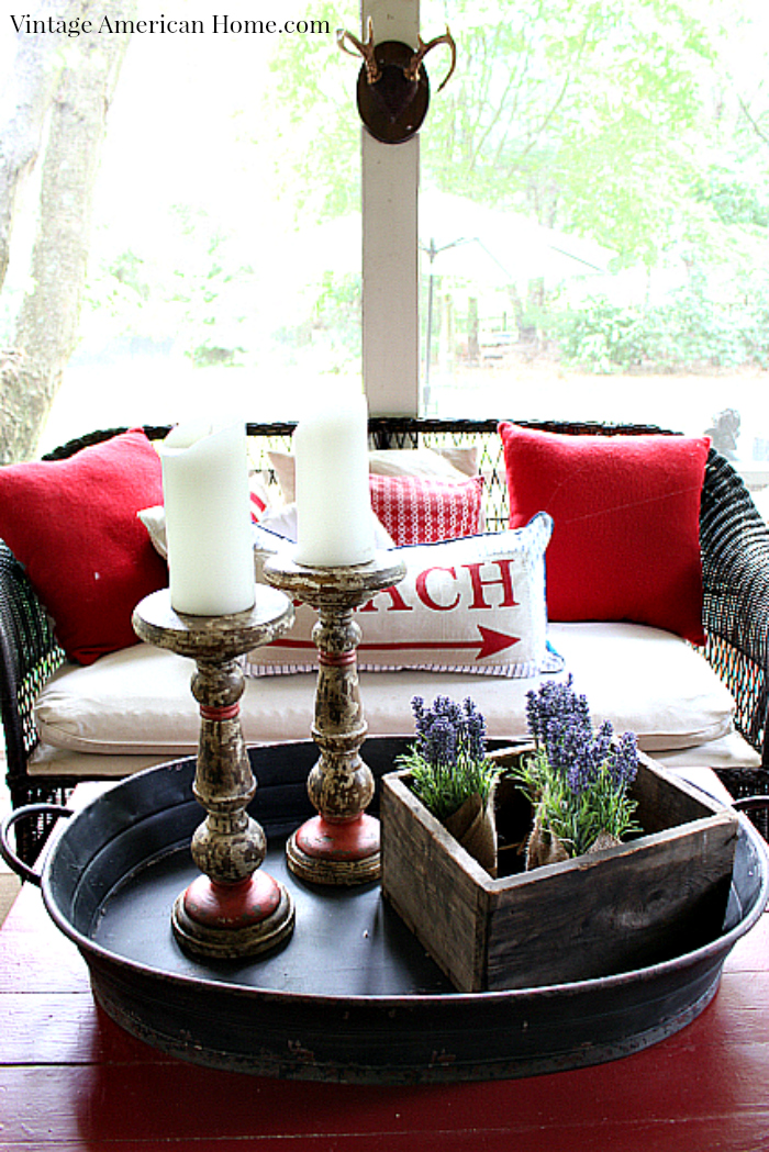 Large Metal tray and turned wood candlesticks from Vintage American Home.com
