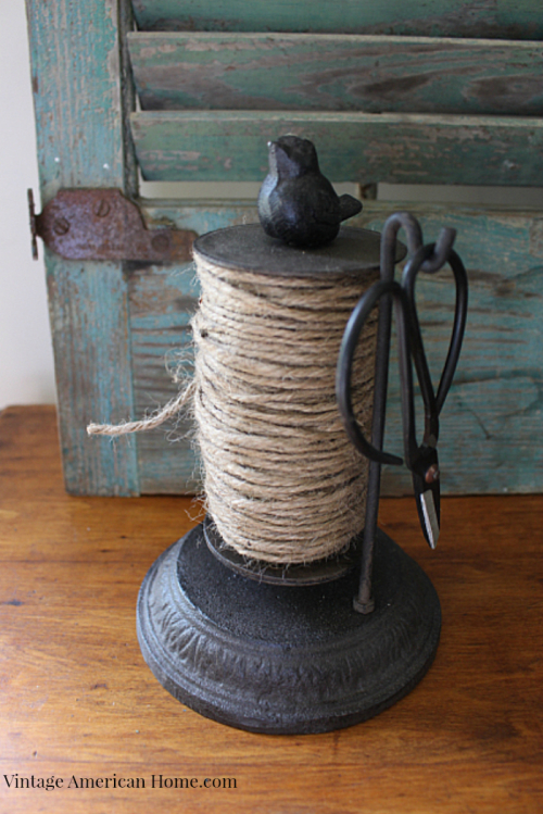 Rustic string or twine holder with scissors from Vintage American hOme.com $35