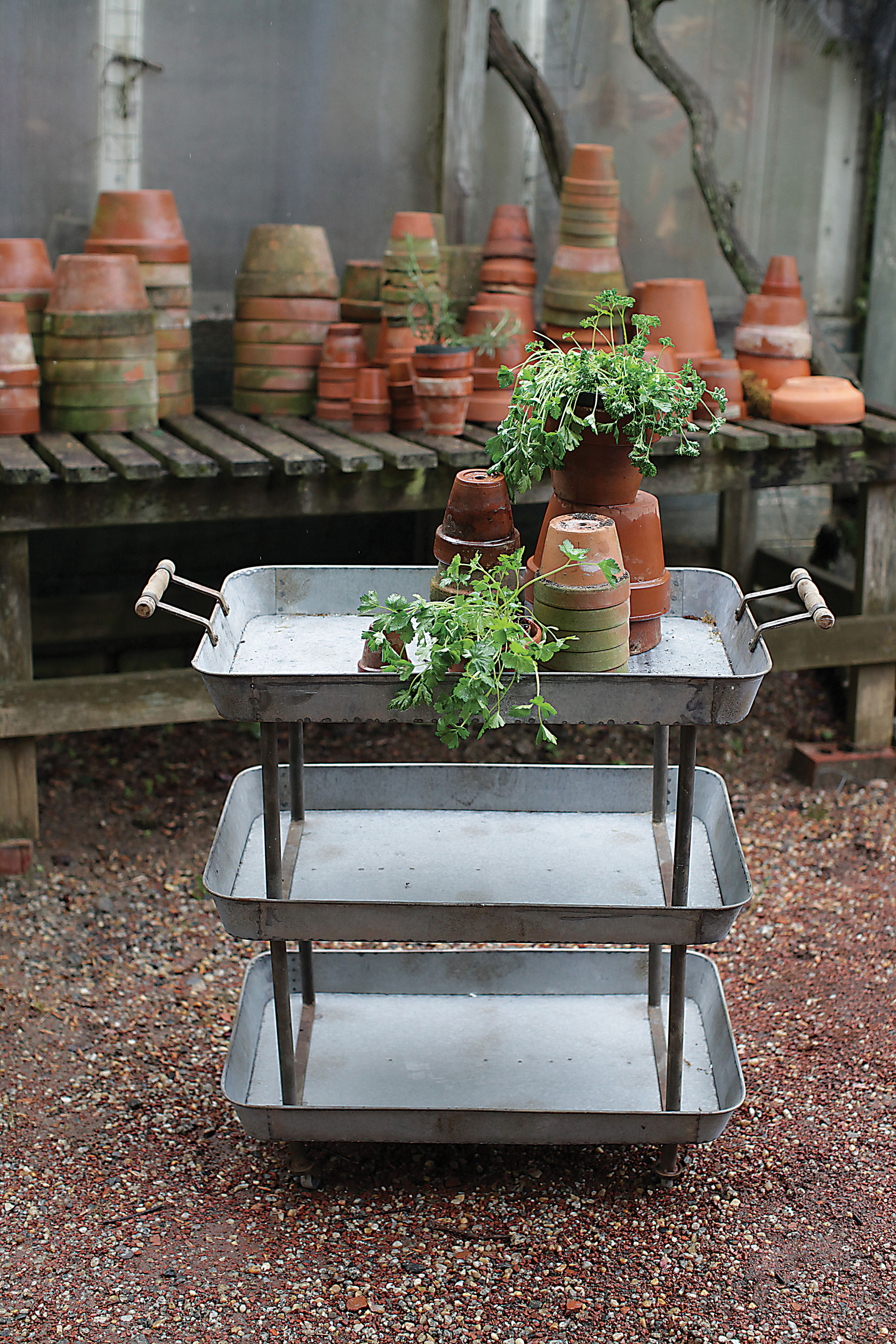 Galvanized metal three tier cart from Vintage American Home online store