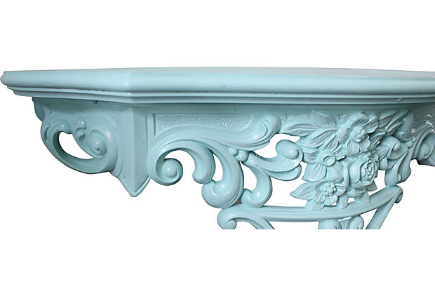 Turquoise Wall Shelf With Roses Vintage American Home