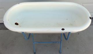 very unusual antique enamel baby bathtub on stand. Black Bedroom Furniture Sets. Home Design Ideas