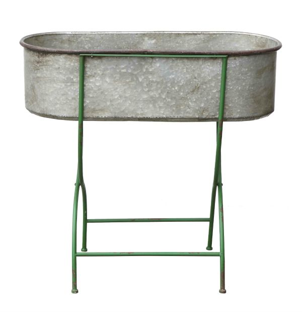 Metal Stand W Trough Style BucketPlanter Vintage