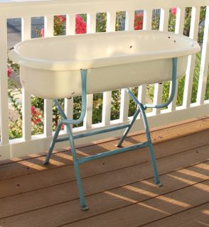 Very unusual Antique enamel Baby Bathtub on stand - Vintage ...