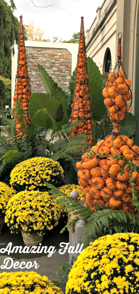 Fall Decorating Ideas from Vintage American Home blog. Pumpkins, gourds, planters, mums, cabbage and more!