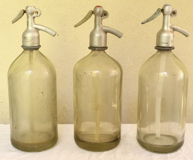 Set of three European Seltzer Bottles only $65