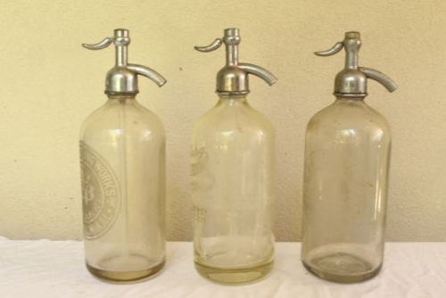 Set of 3 Etched Vintage seltzer bottles for $65