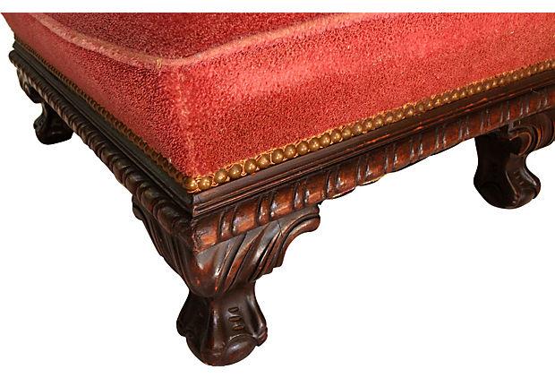 Ottomans Ornate Mahogany Ottoman: Antique Carved Mahogany Ottoman