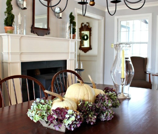 Thanksgiving centerpiece in dining room w\painted with revere pewter