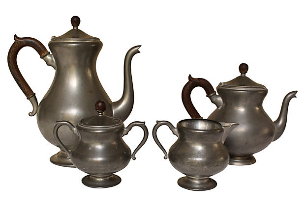 Pewter Tea anc coffee set for sale at Vintage American HOme