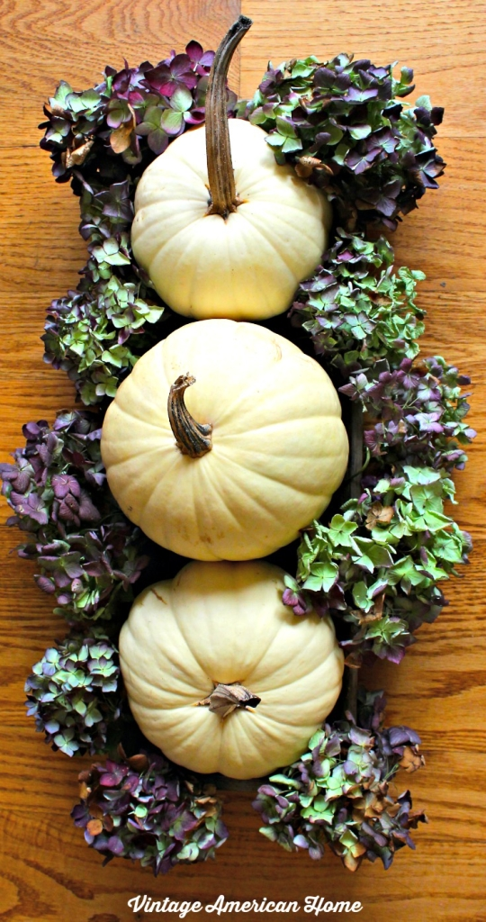 White Pumpkins and hydrangeas centerpiece from Vintage American Home.  For Thanksgiving, autumn or fall.