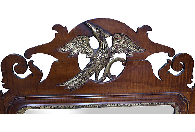 Carved Tiger maple vintage Chippendale Mirror with Gilded Phoenix - Vintage American Home
