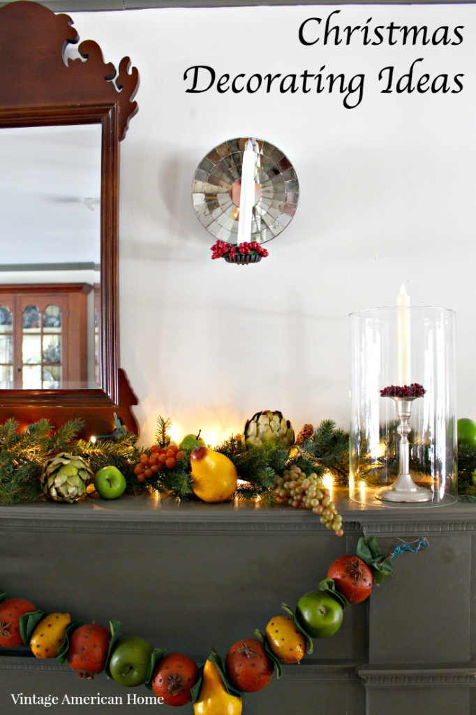 Christmas Mantel decorating in the dining room - 2015 House Christmas House Tour