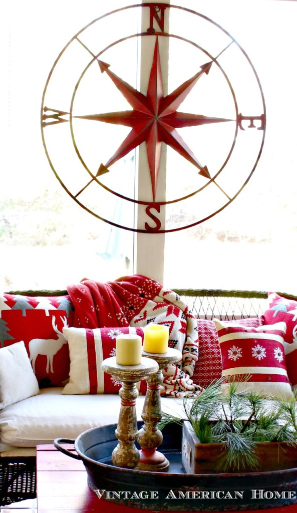 "41"" Round Metal Compass Wall Décor, Red #DE6069 for your fixer upper or porch for sale $150"