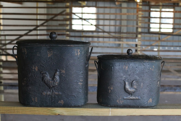 Black french country metal bins for sale for your farmhouse decorating or updating your fixer upper