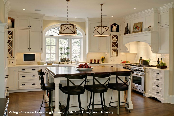 Kitchen Sink Farm Style : White-farm-kitchen-with-Bentwood-Bar-stools-farm-sink-pendant-lighting ...