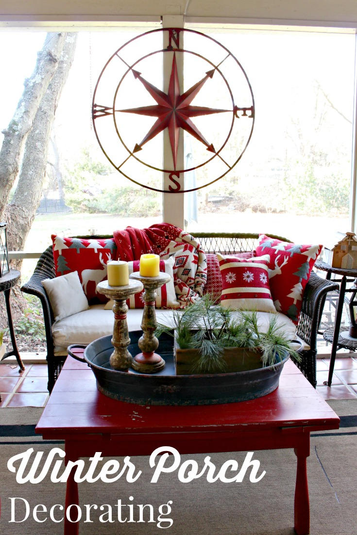 Decorate your back porch for winter. Red compass rose, metal tray and candle holders for sale at Vintage American Home.