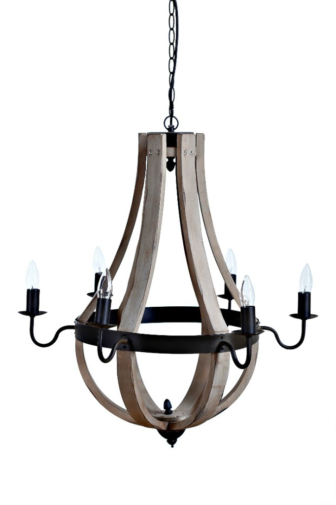 Wood chandelier for the farmhouse style if you have a fixer upper for sale at Vintage American Home