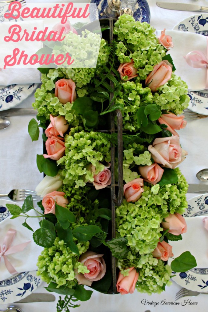 Beautiful bridal shower with blush peach roses.