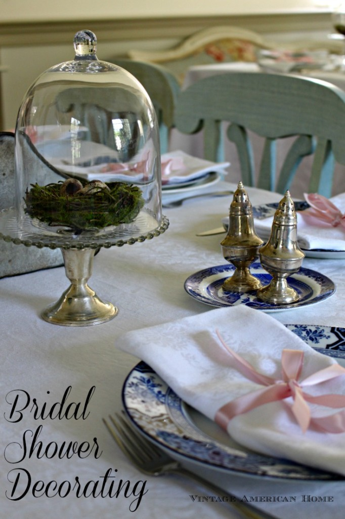 Bridal Shower decor with glass cloche and vintage silver, with antique plates and damask.