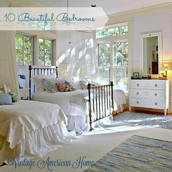 Tour 10 beautiful bedroom decorating ideas, this one with white shiplap walls, coastal themes. At Vintage American Home.