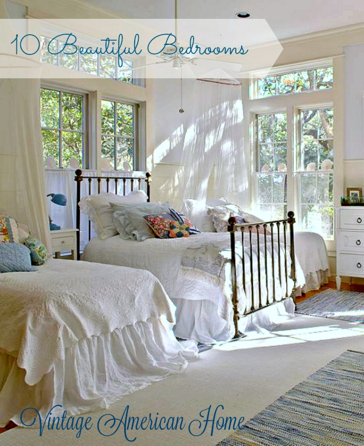 Shiplap and white linen bedding add to the charm of this romantic bedroom. More on Vintage American Home