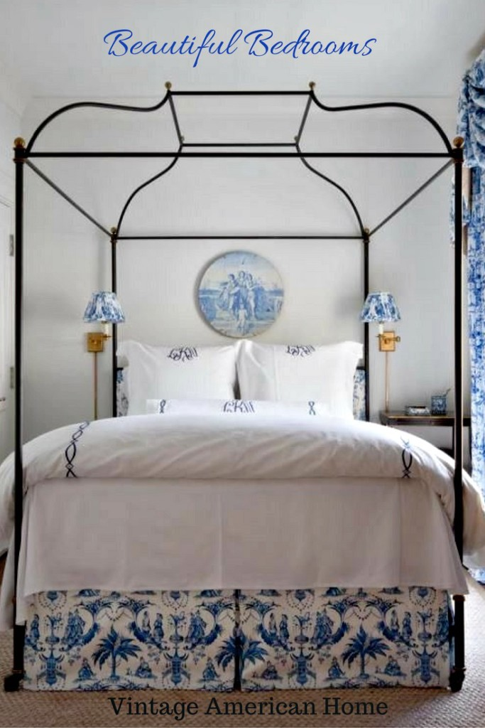 Beautiful Bedrooms for pinterest from Vintage American Home. Brass beds, blue and white, luxury bedding.